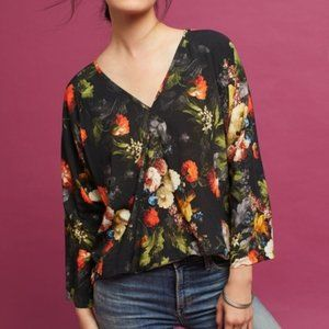 Anthro The Odells Floral Wrap Surplice Blouse